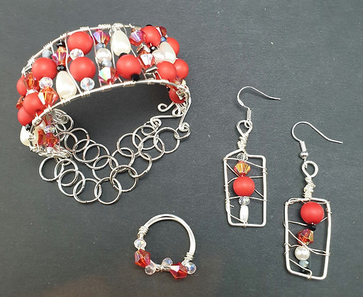 VM233 סט צמיד, טבעת ועגילים