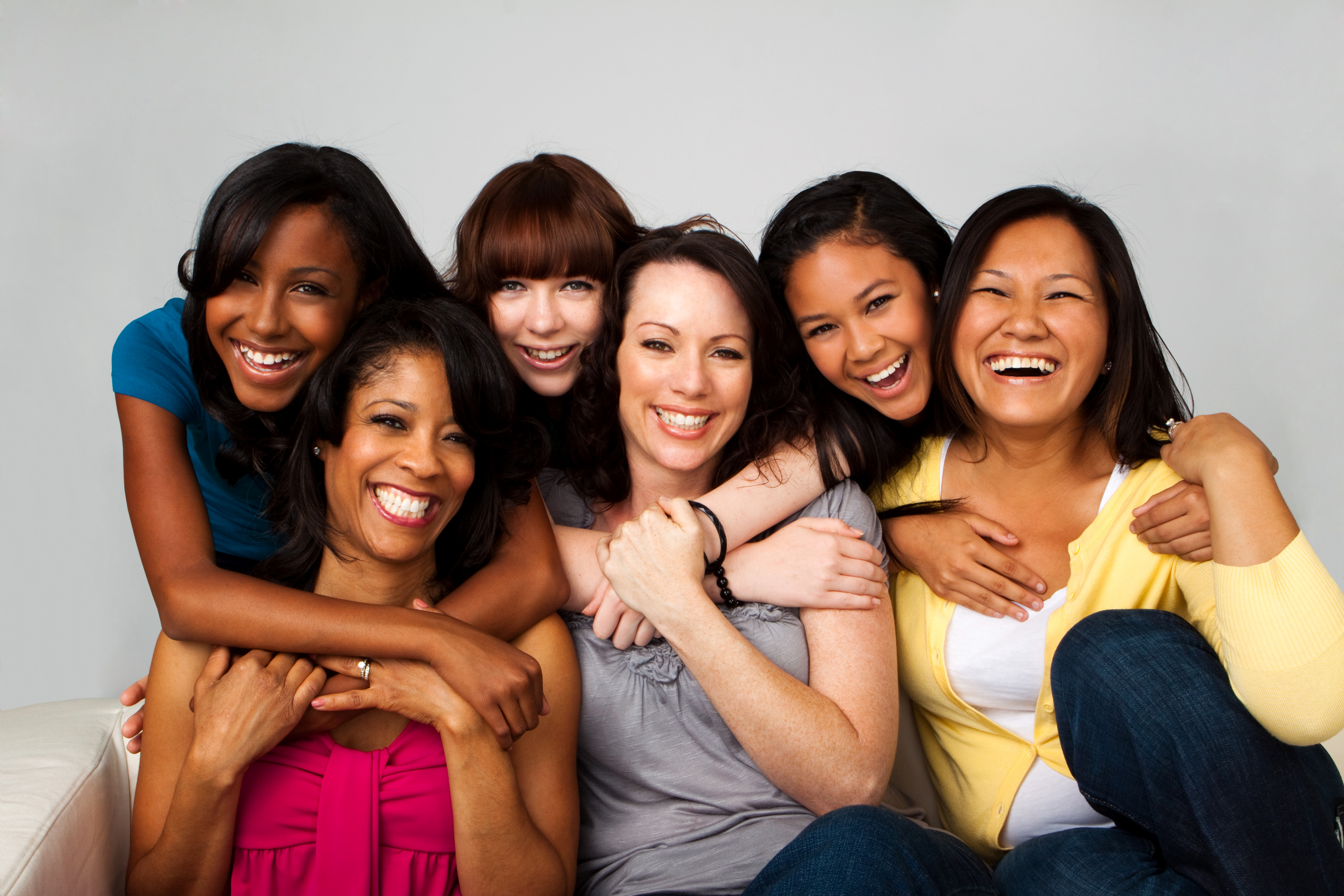 Diverse group of mothers and daughters..