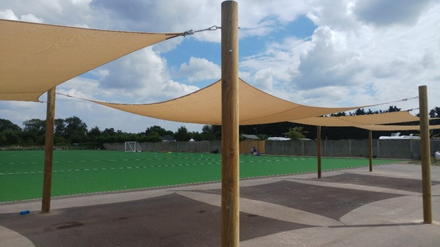 Shade Sails installed in the Playground