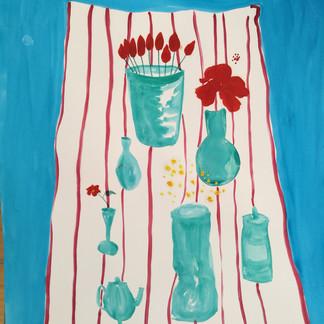 """""""Venter på gæsterne"""" Oil and akvarel on paper 42x59cm"""
