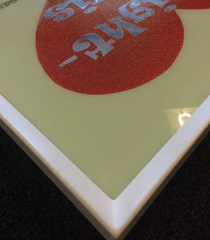 reverse glass sign in gesso frame