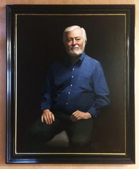 oil portrait frsmed in polished black frame with gilded sight