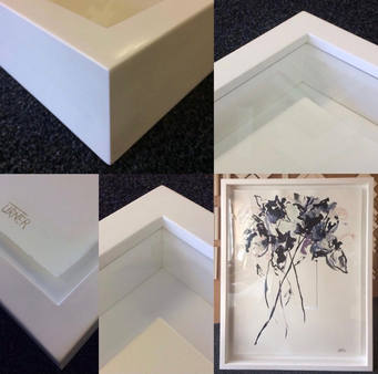 float mounted art in a box frame