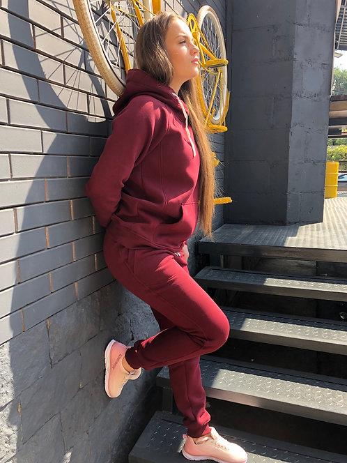 Бордовый теплый спортивный костюм Mountride