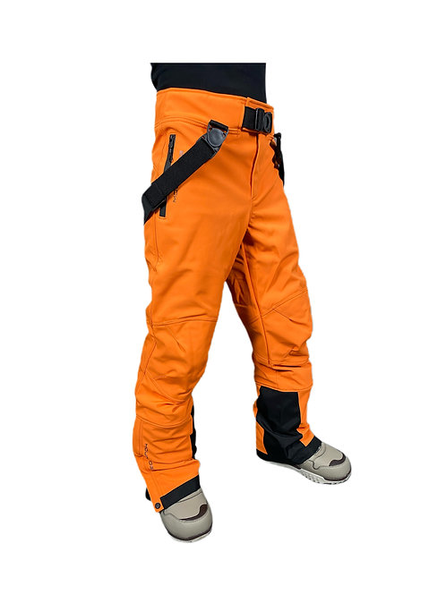 Брюки горнолыжные мужские оранжевые  (софтшел)
