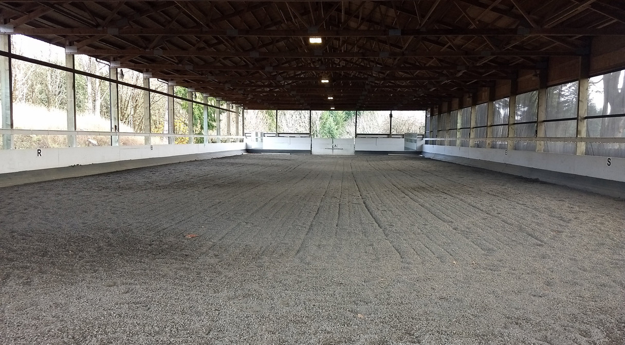 Covered indoor arena - 64 x 198 with rubber/sand footing.