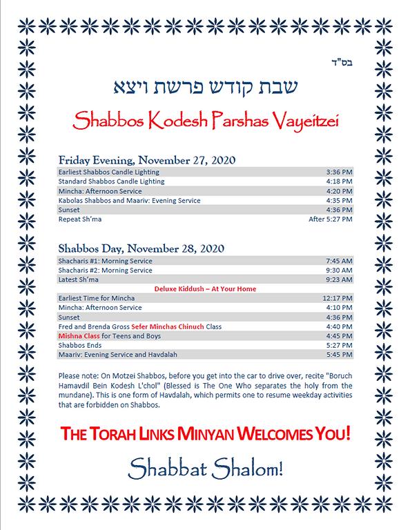 Schedule - Shabbos Kodesh Parshas Vayeit