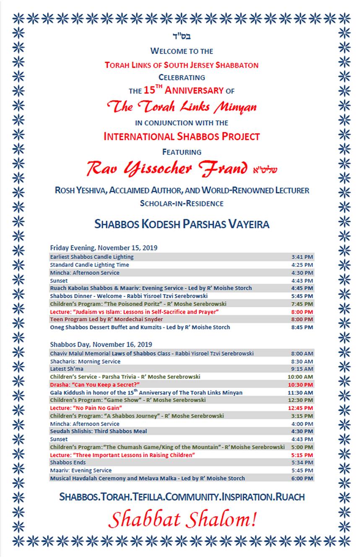Schedule - Shabbos Kodesh Parshas Vayeir