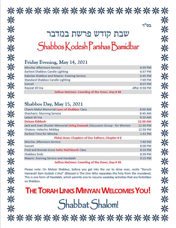 Schedule - Shabbos Kodesh Parshas Bamidb