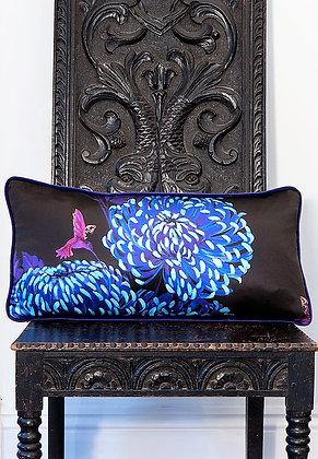 Chrysanths Japonais - Midnight Blue - Silk Cushion - £59/NOW £35