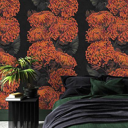Chrysanths Nuit - Mandarin - Wallpaper - £99 per roll