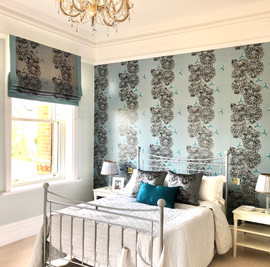 2019 : Guest Bedroom in our China Blue Chrysanths Japonais design. 2019