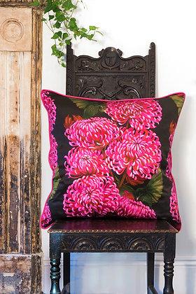 Chrysanths Nuit - Cerise - Silk Cushion - £99/NOW £75