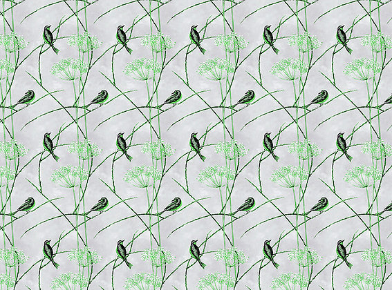 Little Finches - English Apple - Furnishing Fabric - £119 per meter