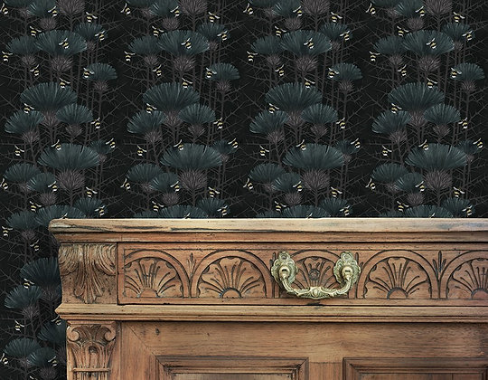 Bill's Bees - Bonnie Black - Wallpaper - £99 per roll