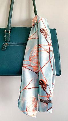 Elegant Luxury Silk Scarf in Orange & Blue