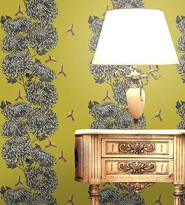 Chrysanths Japonais - Peking Gold - Wallpaper - £99 per roll