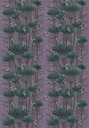 Bill's Bees - Ghost Lilac - Furnishing Fabric - £89 to £119 per meter