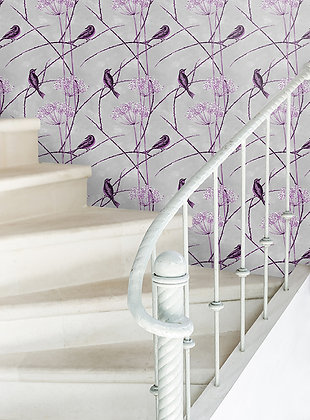 Little Finches - English Plum - Wallpaper - £99 per roll