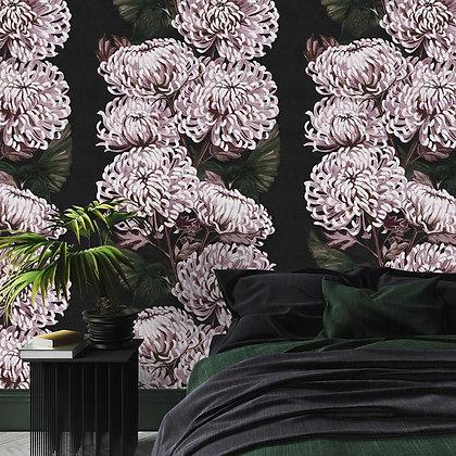 Chrysanths Nuit - Blush - Wallpaper - £99 per roll