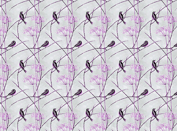 Little Finches - English Plum - Furnishing Fabric - £119 per meter
