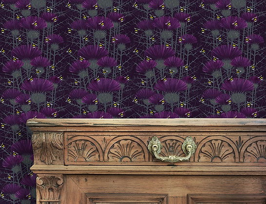 Bill's Bees - Highland Purple - Wallpaper - £99 per roll