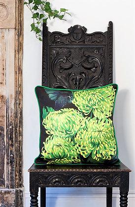 Chrysanths Nuit - Lime - Silk Cushion - £89/NOW£49