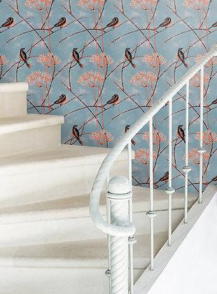 Little Finches - Tangerine - Wallpaper - £99 per roll