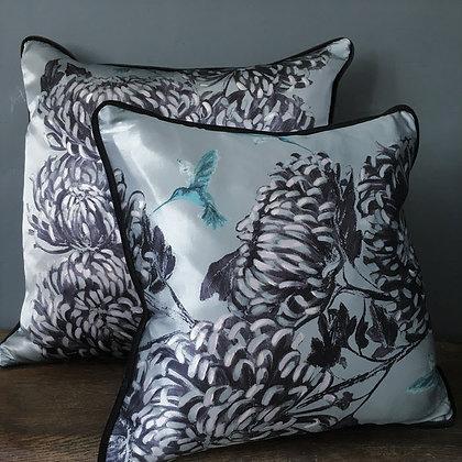 Chrysanths Japonais - China Blue - Silk Cushion - £89/NOW £49