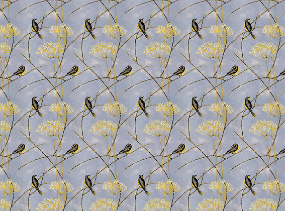 Little Finches - Vintage Violet - Furnishing Fabric - £119 per meter