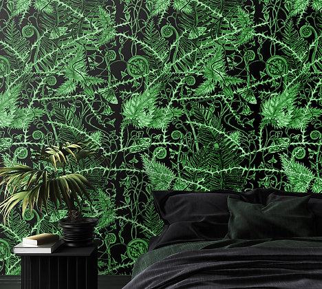 Secret Hedgerow - Midnight Green - Wallpaper - £99 per roll