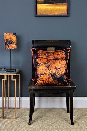 Chrysanths Nuit - Tangerine - Silk Cushion - £89/NOW £65