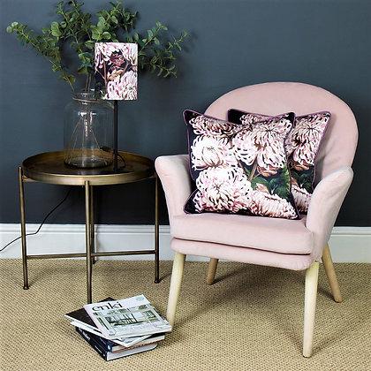 Chrysanths Nuit - Blush - Silk Cushion - £69/NOW £33