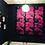 Thumbnail: Chrysanths Nuit - Cerise - Silk Furnishing Fabric - £119 per meter