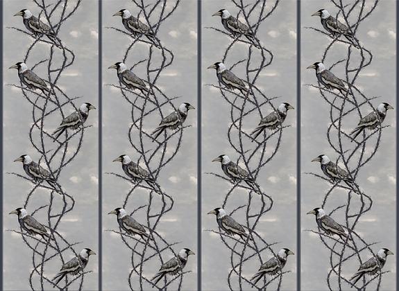 Crow Patrol - Gothic Grey - Velvet Furnishing Fabric - £119 per meter