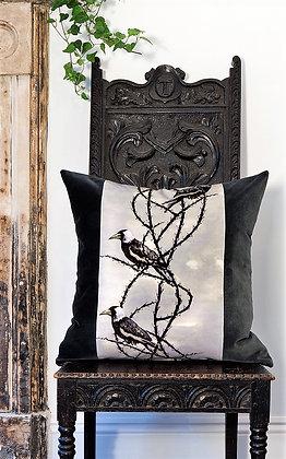 Crow Patrol - Gothic Grey - Velvet Cushion - £89