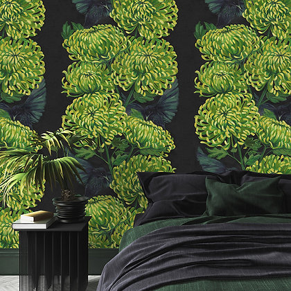 Chrysanths Nuit - Lime - Wallpaper - £99 per roll