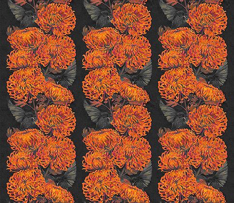 Chrysanths Nuit - Mandarin - Silk Furnishing Fabric - £119 per meter