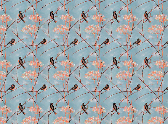 Little Finches - Tangerine - Furnishing Fabric - £119 per meter