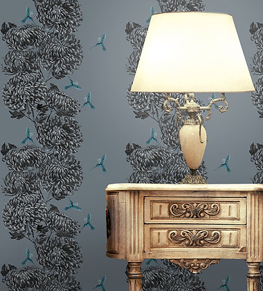 Chrysanths Japonais - China Blue - Wallpaper - £99 per roll