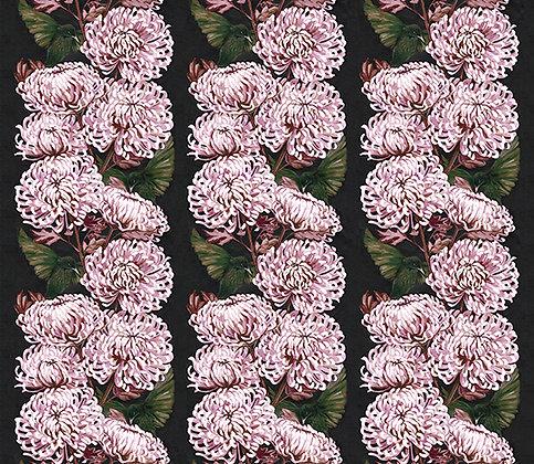 Chrysanths Nuit - Blush - Silk Furnishing Fabric - £119 per meter