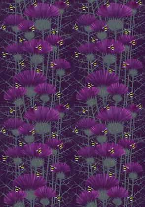 Bill's Bees - Highland Purple - Furnishing Fabric - £89 to £119 per meter