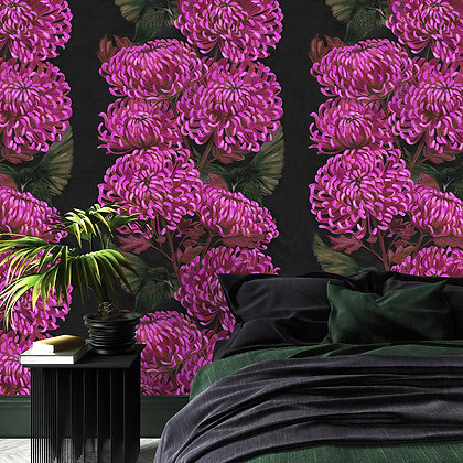 Chrysanths Nuit - Cerise - Wallpaper - £99 per roll