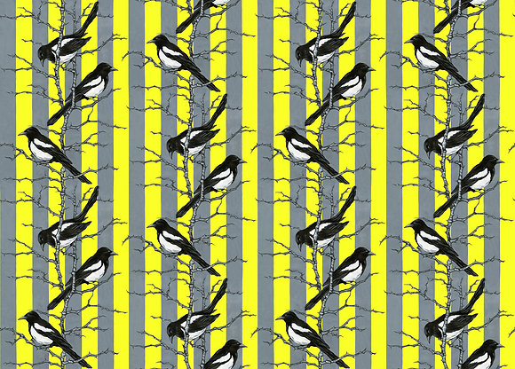 Mr Magpie - Lemon - Silk Fabric - £119/NOW £40 per meter