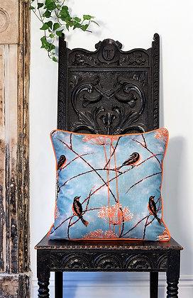Little Finches - Tangerine - Silk Cushion - £69/NOW £33
