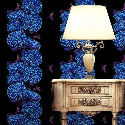 Chrysanths Japonais - Midnight Blue - Wallpaper - £99 per roll