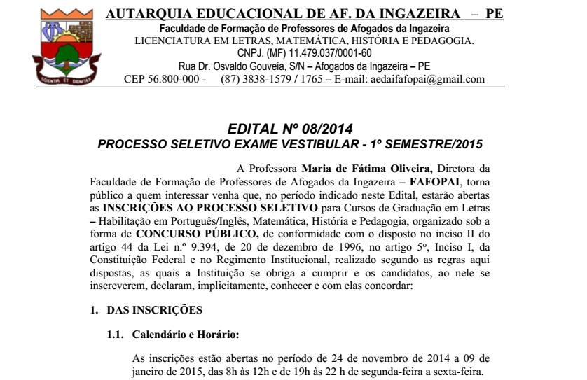 EDITAL No 08/2014  PROCESSO SELETIVO