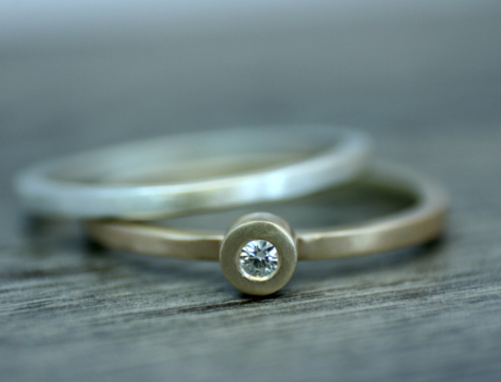 silver and gold moissanite