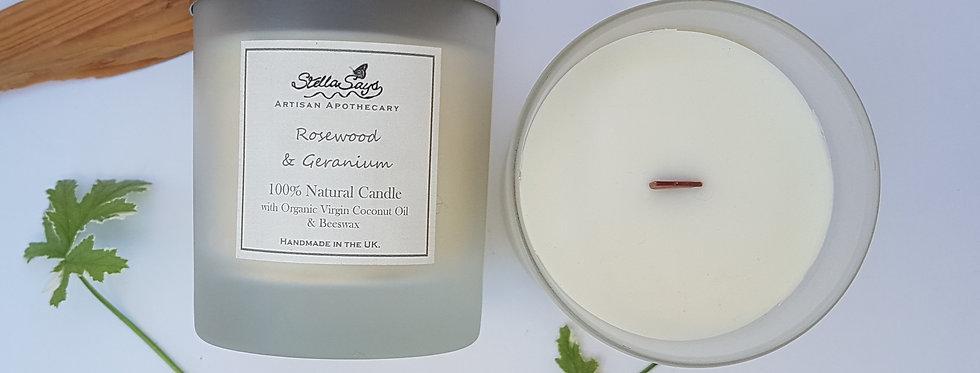 Geranium & Bergamot- Virgin Coconut oil and Beeswax Candle