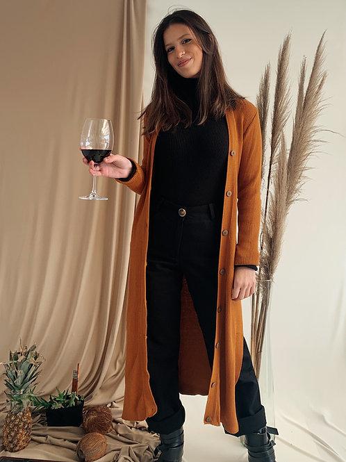 casaco longo canelado